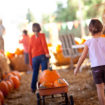 Kids at a pumpkin patch