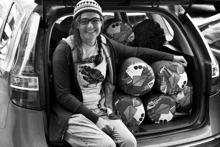 Help people: Suzanne Stauss with car load of sleeping bags