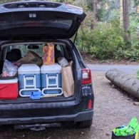 Car packed for camping at Camano Island State Park