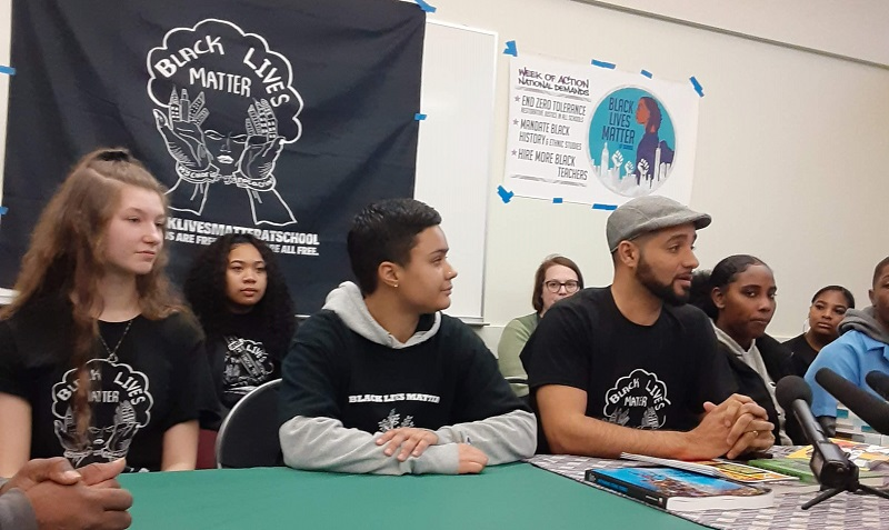Black students: Azure Savage and Jesse Hagopian at a Black Lives Matter at School event