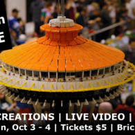 BrickCon: view of the top of a Lego space needle, with Lego minifigures looking out from it