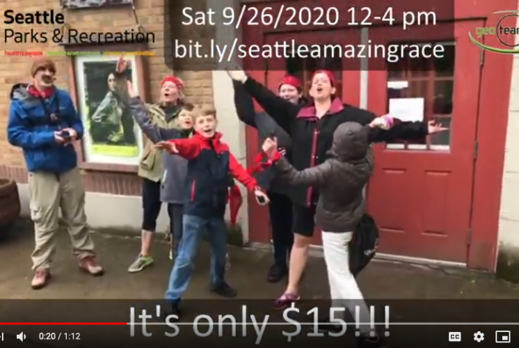 Amazing Race: family shows off their moves outside the Bathouse Theatre in Green Lake Park