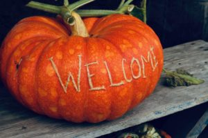"Pumpkin with the word ""welcome"" on it at Bailey Family Farm"