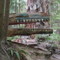 books: a sculpture of a crocodile by the trail in Schmitz Preserve Park